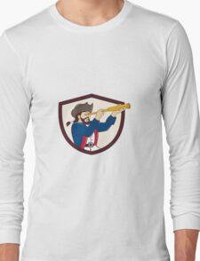 Pirate Looking Spyglass Crest Cartoon T-Shirt