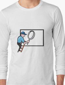 Worker Ladder Magnifying Glass Billboard Cartoon T-Shirt