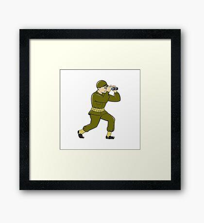 World War Two American Soldier Binoculars Cartoon Framed Print
