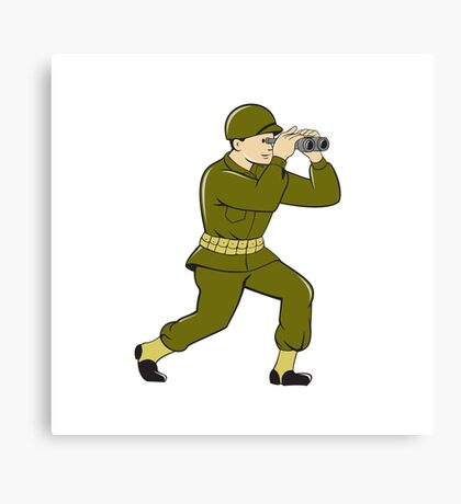 World War Two American Soldier Binoculars Cartoon Canvas Print