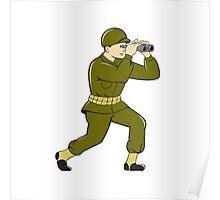 World War Two American Soldier Binoculars Cartoon Poster
