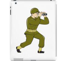 World War Two American Soldier Binoculars Cartoon iPad Case/Skin