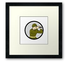 World War Two American Soldier Binoculars Circle Cartoon Framed Print