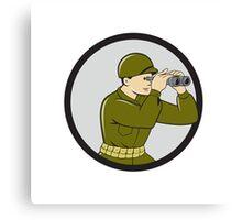World War Two American Soldier Binoculars Circle Cartoon Canvas Print