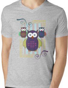 Striped Owls Mens V-Neck T-Shirt