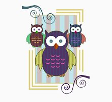 Striped Owls Womens Fitted T-Shirt