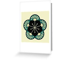 Geometric Heliconia Fan Pattern Greeting Card