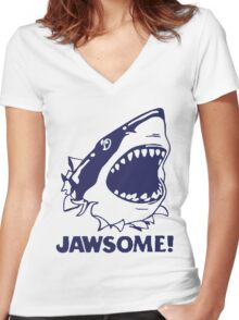 Funny Jawsome Jaws Shark  Women's Fitted V-Neck T-Shirt