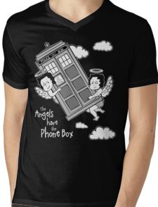 The Angels have the Phone Box - Version 3 BW (for dark tees) Mens V-Neck T-Shirt