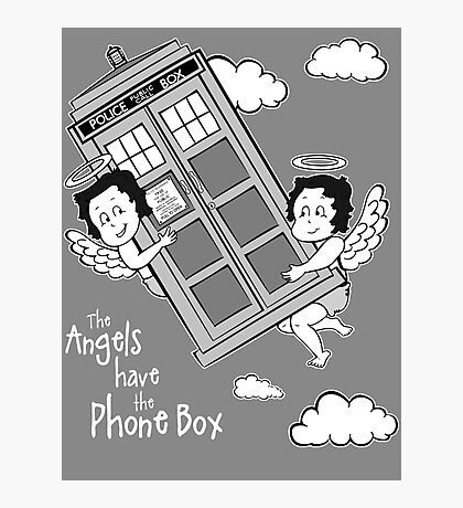 The Angels have the Phone Box - Version 3 BW (for dark tees) Photographic Print