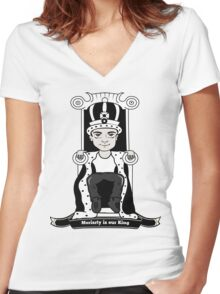 Moriarty is our King (Black and White Version) Women's Fitted V-Neck T-Shirt