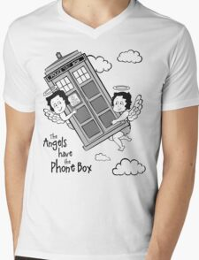 The Angels have the Phone Box - Version 3 BW (for light tees) Mens V-Neck T-Shirt