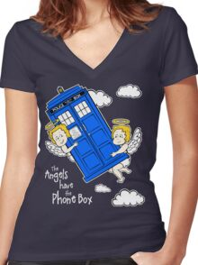 The Angels have the Phone Box - Version 4 (for dark tees / white outlines)  Women's Fitted V-Neck T-Shirt