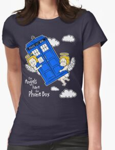 The Angels have the Phone Box - Version 4 (for dark tees / white outlines)  Womens Fitted T-Shirt
