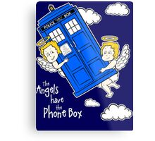 The Angels have the Phone Box - Version 4 (for dark tees / white outlines)  Metal Print