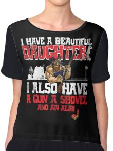 I Have A Beautiful Daughter - Black Distressed Variant Chiffon Top