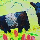 Painting of Two Belted Galloway Cows on Dartmoor by MikeJory