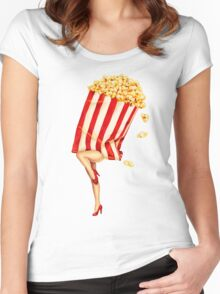 Let's All Go to the Lobby - Popcorn Girl Women's Fitted Scoop T-Shirt