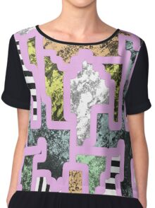 Paint Segregation - Abstract, multi patterned collage Chiffon Top