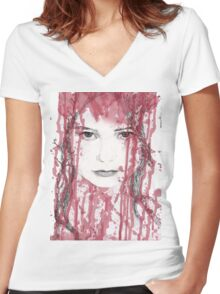Your blood on my face Women's Fitted V-Neck T-Shirt