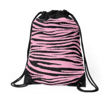 0113 Carnation Pink Tiger Drawstring Bag