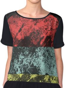 Sunset Beach - Abstract, Marble Effect Painting Chiffon Top