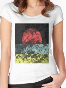 Sunset Beach - Abstract, Marble Effect Painting Women's Fitted Scoop T-Shirt
