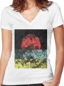 Sunset Beach - Abstract, Marble Effect Painting Women's Fitted V-Neck T-Shirt