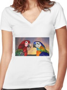 HYPER PARROTS / RED AND BLUE ARA Women's Fitted V-Neck T-Shirt