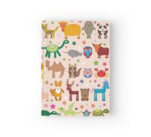 Funny cartoon animals on pink Hardcover Journal