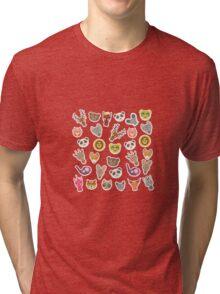 Funny animals on pink-peach Tri-blend T-Shirt