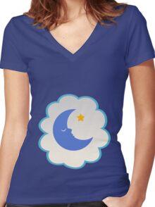 Bedtime Bear (low version) Women's Fitted V-Neck T-Shirt