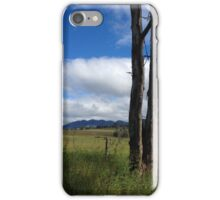 Tree trunks front the mountains iPhone Case/Skin