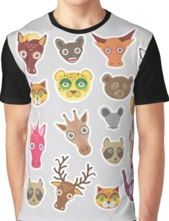 Funny animals on grey Graphic T-Shirt