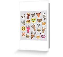 Funny animals on grey Greeting Card