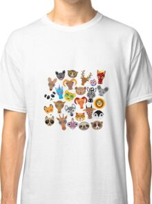 Animal faces on blue Classic T-Shirt