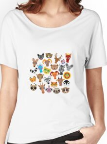 Animal faces on blue Women's Relaxed Fit T-Shirt