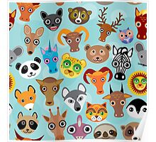 Animal faces on blue Poster