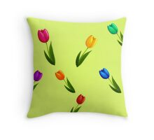 Rainbow tulips Throw Pillow