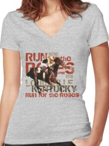 142nd Run for the Roses 2016 Triple Crown Horse Racing Women's Fitted V-Neck T-Shirt