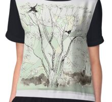 Crows in the Sycamore Chiffon Top
