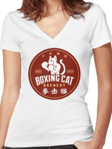 Boxing Cat Brewery Chinese Beer Women's Fitted V-Neck T-Shirt