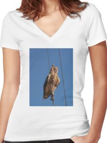 Eagle Owl Women's Fitted V-Neck T-Shirt
