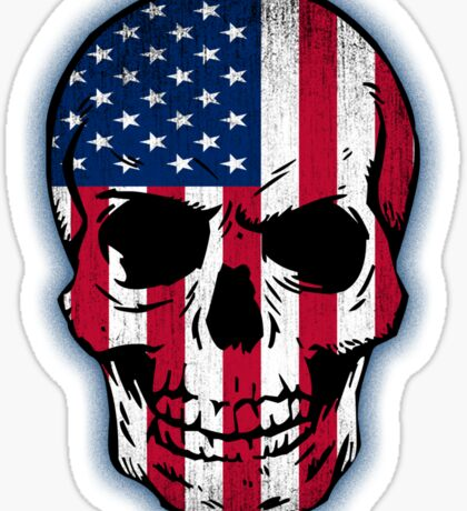 Vintage USA Flag Skull Design Sticker