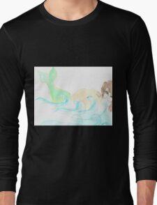 Mermaid behind Rock Long Sleeve T-Shirt
