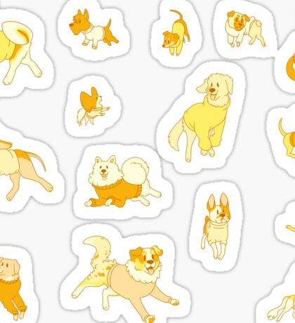 Dogs In Sweaters (Brown) Sticker