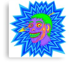 Purple Pop Art Zombie Head Funny Cartoon Canvas Print