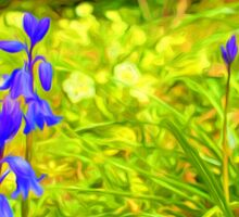 Two bluebells surrounded by yellow and white wild flowers and grass (Abstract) Sticker