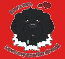 Love My Newfie Drool - Black Landseer Newfoundland Kids Tee