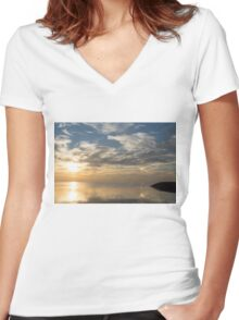 Blinding Bright Sunrise with a Sundog Women's Fitted V-Neck T-Shirt